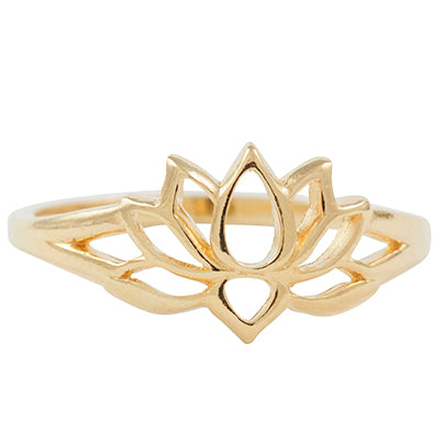 Cutout Lotus Ring in Gold