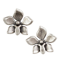 Oxidized Orchid Post Earring