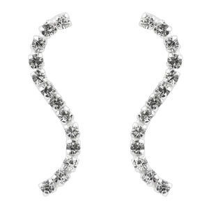 S Curve Crystal Ear Pin