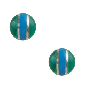Striped Circle Post In Azure And Green