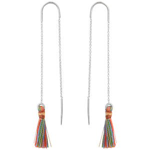 Tassel Threader Earrings In Silver/ Multi