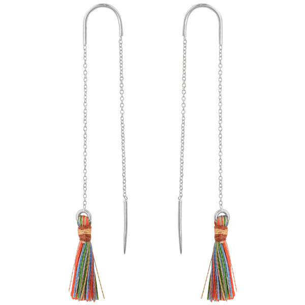 Multi Color Tassel Threader Earrings In Silver