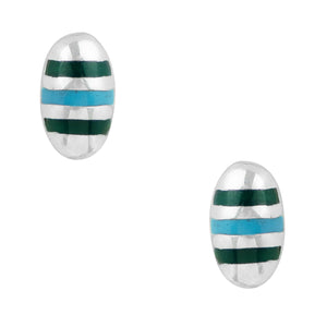 Inlaid Stripe Oval Post Earring
