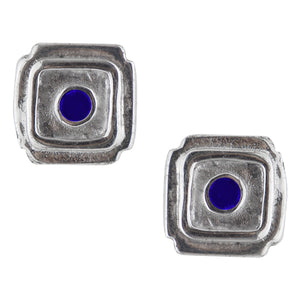 Bali Square Post Earring - Lapis