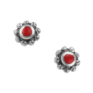 Bantam Bali Post Earring - Red