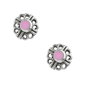 Yarrow Flower Post Earring - Pink