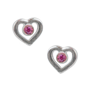 Open Heart Post Earring with Pink Crystal