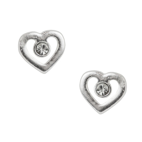 Open Heart Post Earring with Clear Crystal