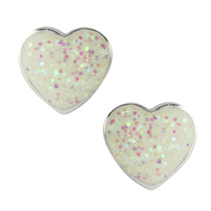 White Glitter Enamel Post Earrings