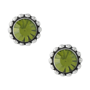 Bali Crystal Post Earrings - Olive