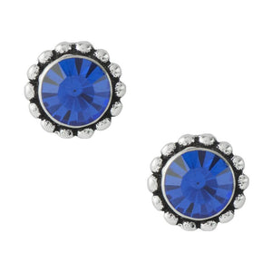 Bali Crystal Post Earrings - Blue