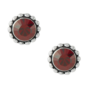 Bali Crystal Post Earrings - Siam Red