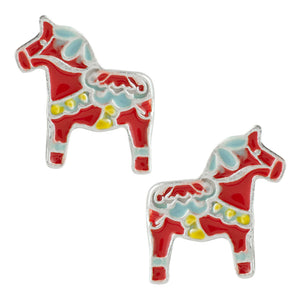 Dala Horse Post Earrings - Red