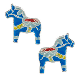 Dala Horse Post Earrings - Blue