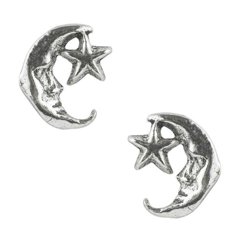 Crescent Moon and Star Post Earrings