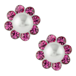 Pearl and Crystal Flower Post Earring - Pink