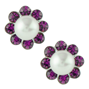 Pearl and Crystal Flower Post Earring - Purple