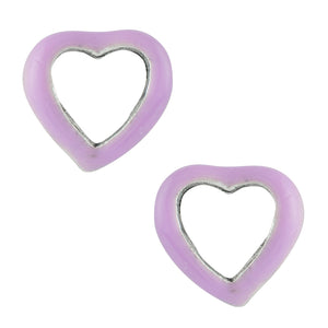 Purple Enamel Open Heart Post Earrings