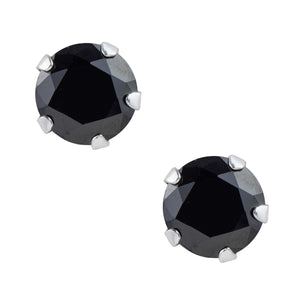 Black CZ Post Earring - 7mm