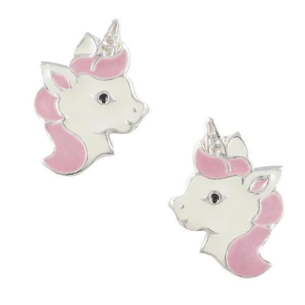 Enamel Unicorn Head Post Earring