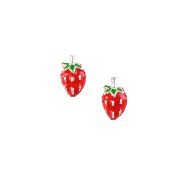 Red Strawberry Post Earring