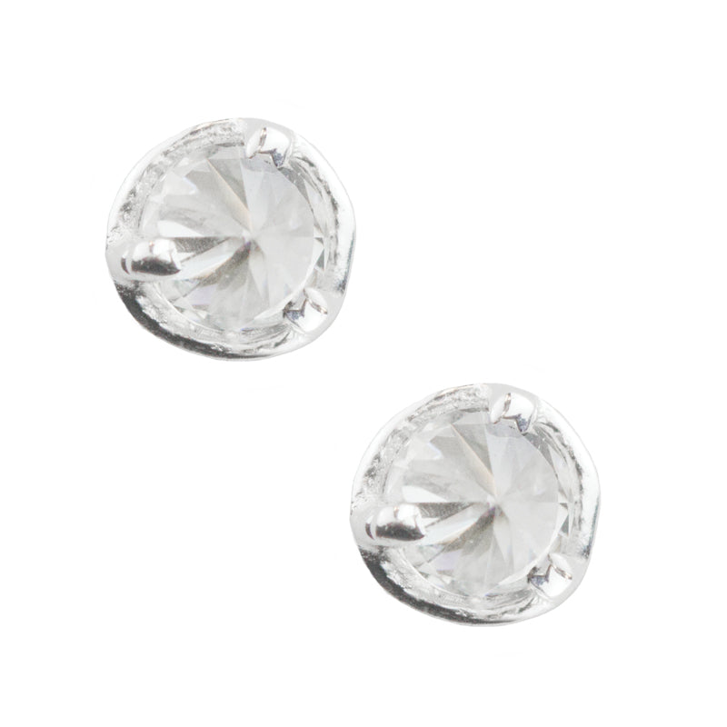 Inverted Stone Post Earrings - CZ