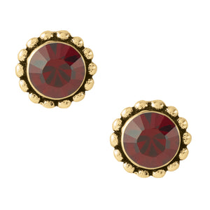 Bali Crystal Studs - Red & Gold