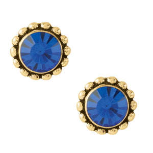 Bali Crystal Studs - Blue & Gold