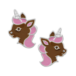 Magic Unicorn Studs - Pink & Brown