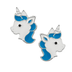 Magic Unicorn Studs - Blue & White