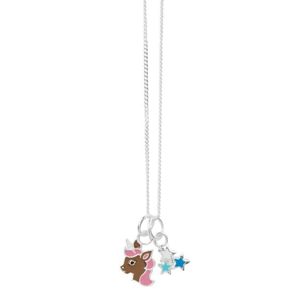 Magic Unicorn and Star Necklace - Blue, Brown & Pink
