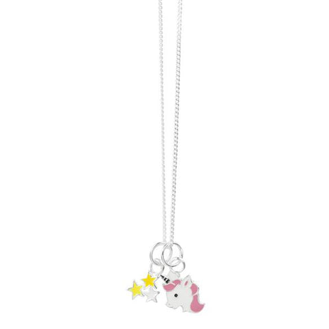 Magic Unicorn and Star Cluster Necklace - Yellow, White & Pink