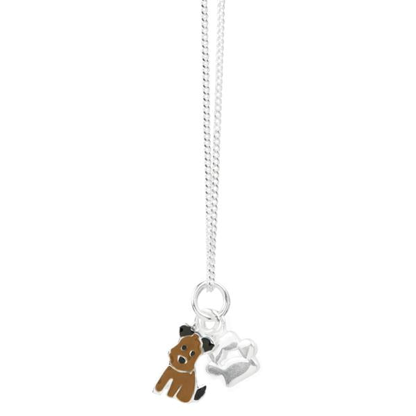 Sitting Puppy & Paw Print Necklace
