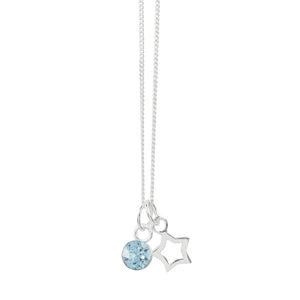 March Crystal Birthstone Star Necklace