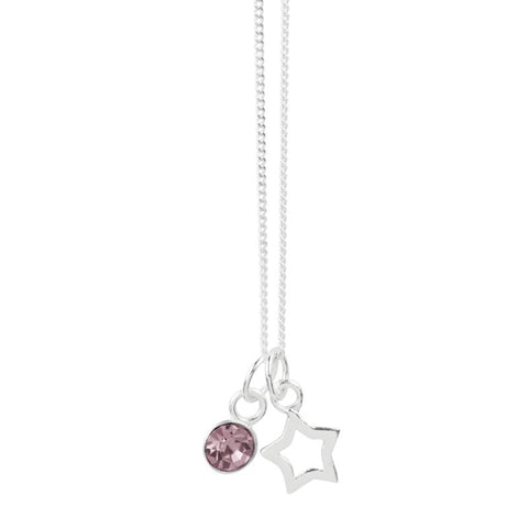 June Crystal Birthstone Star Necklace