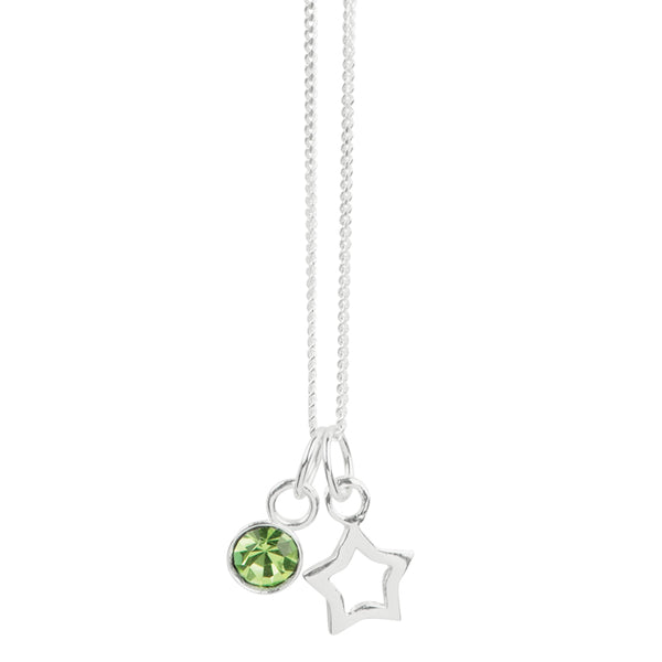 August Crystal Birthstone Star Necklace