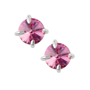 Pointed Prong Set Crystal Studs - Pink