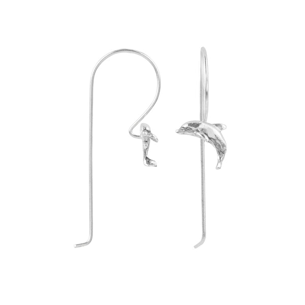 Dancing Dolphin Elongated Hook Earring