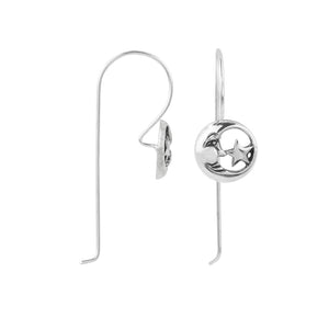Moon And Star Elongated Hook Earring