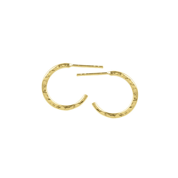 Gold Hammered Half Hoops - 14mm