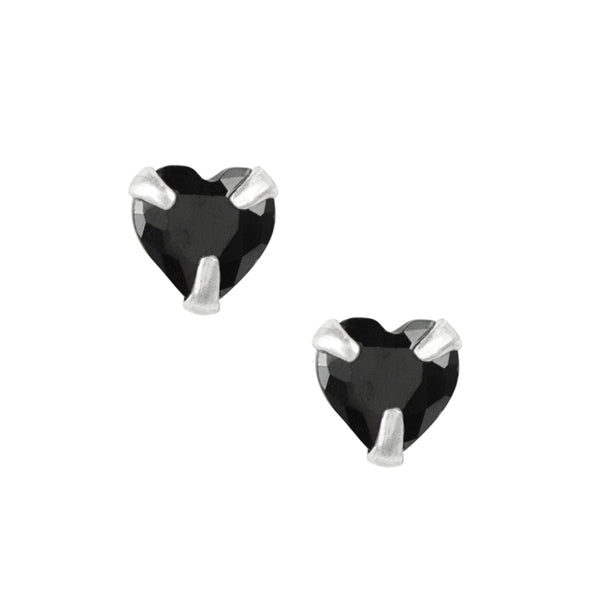 Crystal Heart Studs - Black