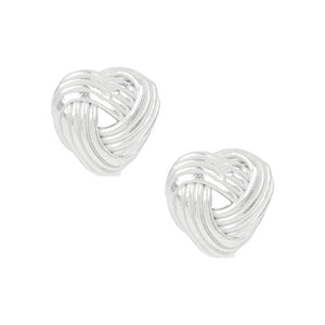 Love Me Knot Heart Studs -7mm