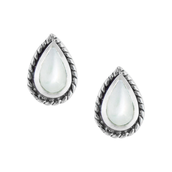 Bali Teardrop Studs - Mother of Pearl
