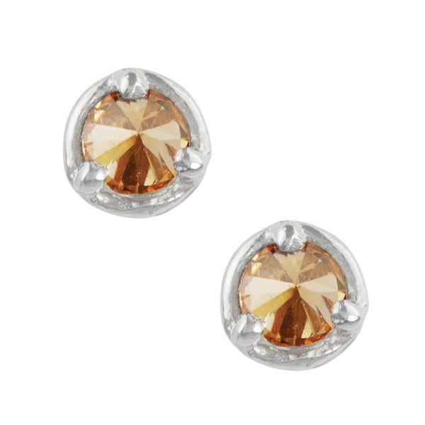 Inverted CZ Studs - Champagne