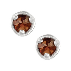 Inverted CZ Studs - Garnet