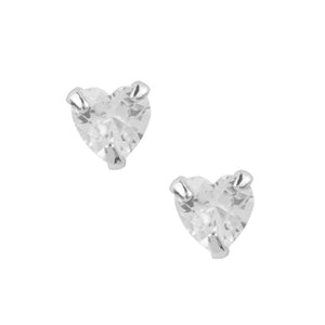 Crystal Heart Studs - Clear