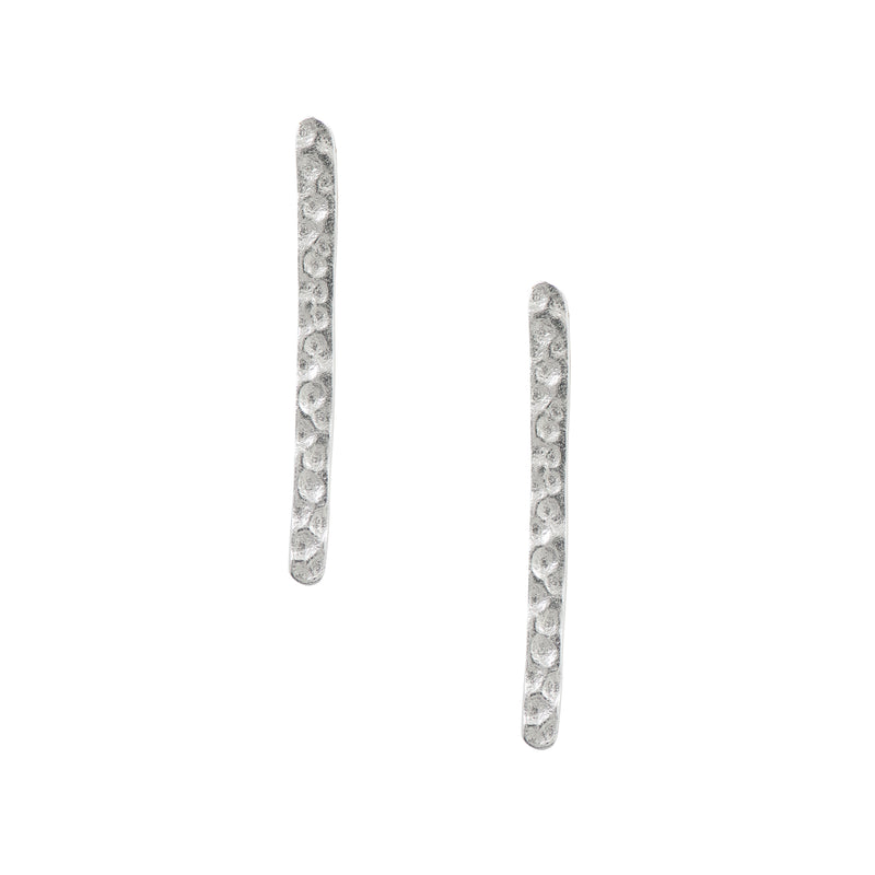 Hammered Extra Long Bar Drop Studs