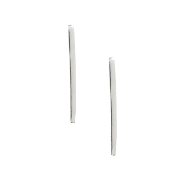 Extra Long Bar Drop Studs - Silver