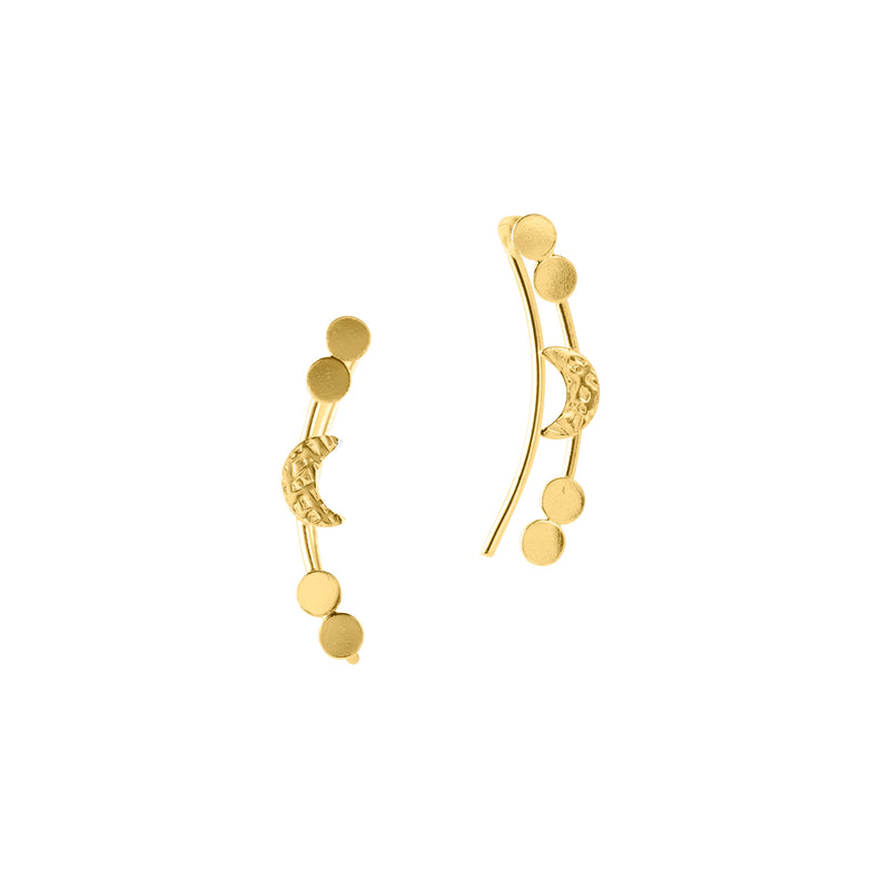 Crescent Moon Crawler Earrings - Gold