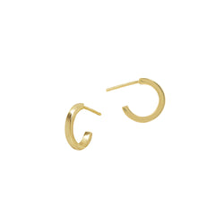Squared Edge Half Hoops - 14mm - Gold